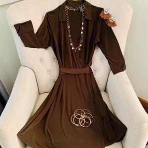 Marron' Faux Wrap Dress
